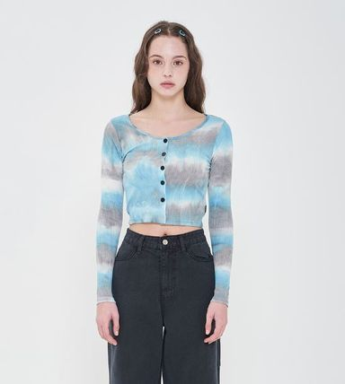Short Street Style Tie-dye Long Sleeves Logo Cropped