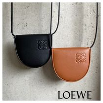 LOEWE Unisex Plain Leather Small Wallet Logo Coin Cases