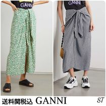 Ganni Gingham Flower Patterns Casual Style Medium Logo Midi Skirts