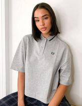FRED PERRY Plain Cotton Short Sleeves Oversized Logo Polos