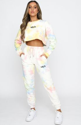 Casual Style Street Style Tie-dye Cotton Co-ord Logo Dresses