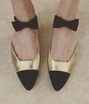 CHANEL Plain Toe Suede Blended Fabrics Plain Leather Party Style
