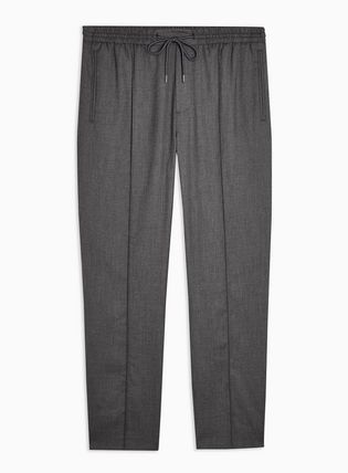 Blended Fabrics Street Style Plain Men Skinny Pants