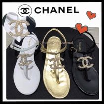 CHANEL ICON Casual Style Plain Leather Sandals