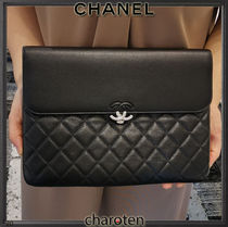 CHANEL ICON Unisex Calfskin Bag in Bag 2WAY Plain Leather Clutches