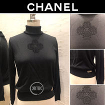 CHANEL Casual Style Long Sleeves Plain Elegant Style Turtlenecks