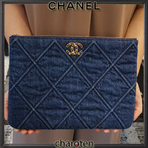 CHANEL ICON Unisex Denim Bag in Bag 2WAY Plain Clutches