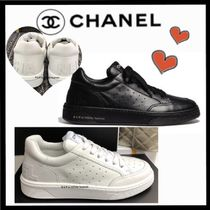 CHANEL SPORTS Unisex Plain Leather Sneakers