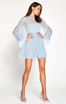 Short Plain Party Style High-Neck Puff Sleeves Dresses
