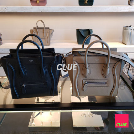CELINE Luggage Casual Style Plain Leather Party Style Office Style