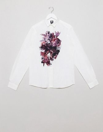 Flower Patterns Street Style Long Sleeves Plain Cotton