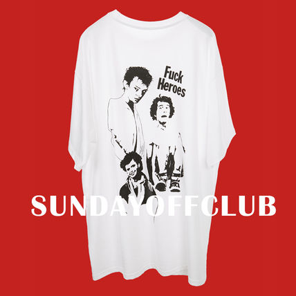 SUNDAYOFFCLUB Crew Neck Crew Neck Pullovers Unisex Street Style Cotton Short Sleeves
