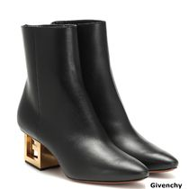 GIVENCHY Plain Toe Plain Leather Block Heels Elegant Style Logo