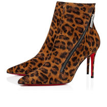 Christian Louboutin Leopard Patterns Casual Style Velvet Pin Heels Party Style