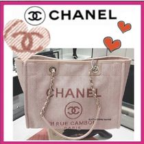 CHANEL DEAUVILLE Casual Style Canvas A4 Plain Totes