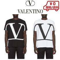 VALENTINO VLOGO Crew Neck Pullovers Street Style Cotton Short Sleeves Logo