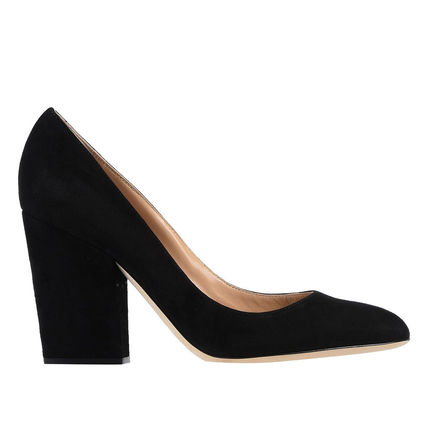 Round Toe Casual Style Suede Plain Leather Block Heels