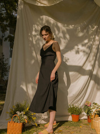 Casual Style Maxi A-line Linen Sleeveless Flared