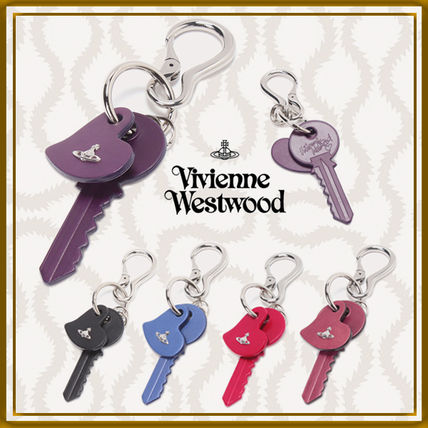 Unisex Calfskin Plain Leather Logo Keychains & Bag Charms