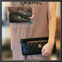 CHANEL ICON Unisex Lambskin Bag in Bag 3WAY Plain Leather Co-ord Bridal