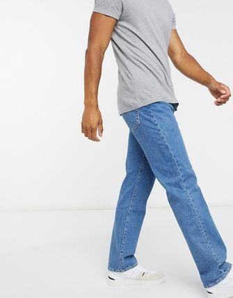 Tapered Pants Denim Blended Fabrics Street Style Plain