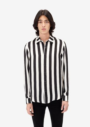 Button-down Stripes Silk Street Style Long Sleeves Logo