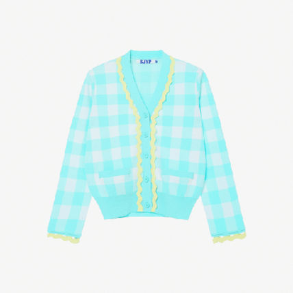 Gingham Casual Style Street Style Long Sleeves Elegant Style