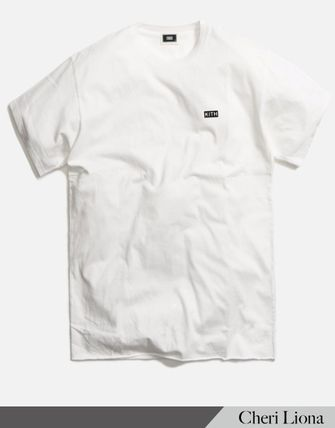 Street Style U-Neck Plain Cotton Short Sleeves Logo T-Shirts