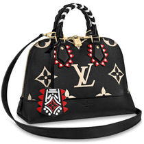 Louis Vuitton ALMA Monogram Casual Style Blended Fabrics Studded Street Style