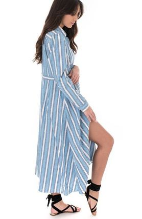Stripes Casual Style Long Sleeves Long Elegant Style Dresses