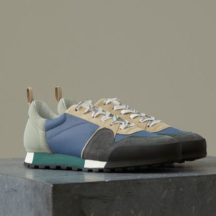 Suede Blended Fabrics Plain Sneakers