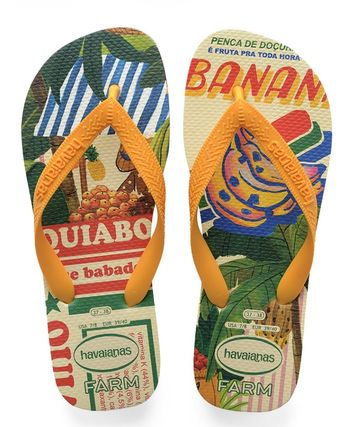 Tropical Patterns Open Toe Rubber Sole Casual Style