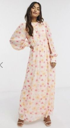 Crew Neck Flower Patterns Maxi Long Sleeves Long