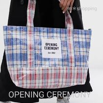 OPENING CEREMONY Other Plaid Patterns Logo Totes
