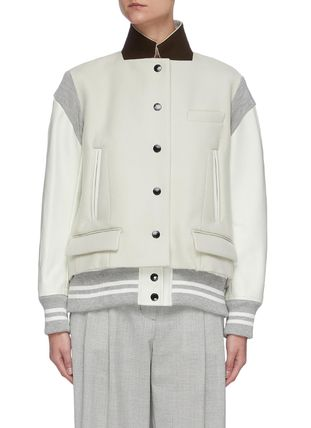 sacai Wool Blended Fabrics Bi-color Leather Oversized
