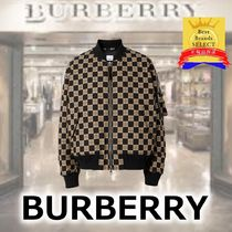 Burberry Other Plaid Patterns Street Style MA-1 Logo Bomber Jackets