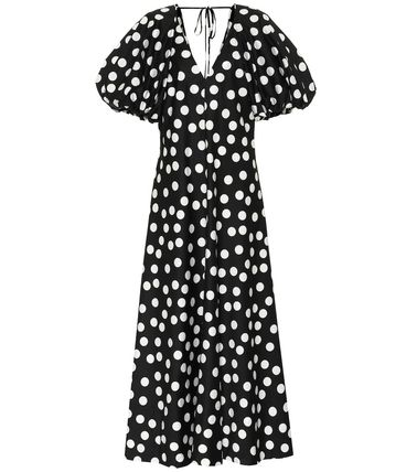 Dots Casual Style Maxi Flared V-Neck Cotton Short Sleeves