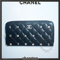 CHANEL ICON Unisex Lambskin Blended Fabrics Plain Leather Long Wallet