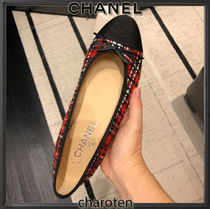 CHANEL TIMELESS CLASSICS Other Plaid Patterns Plain Toe Casual Style Tweed