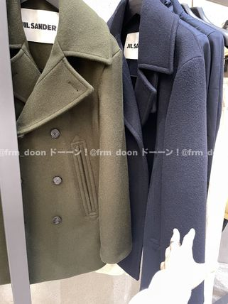 Jil Sander Military Short Wool Plain Khaki Peacoats