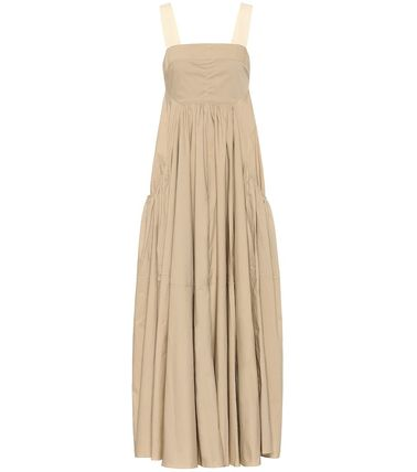 Bridal Casual Style Maxi Sleeveless Flared Plain Cotton Long