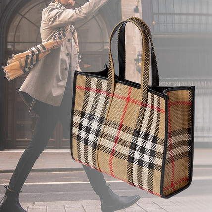 Burberry Other Plaid Patterns Unisex Calfskin Blended Fabrics Leather
