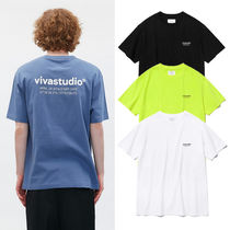 vivastudio Crew Neck Unisex Street Style U-Neck Plain Cotton Medium