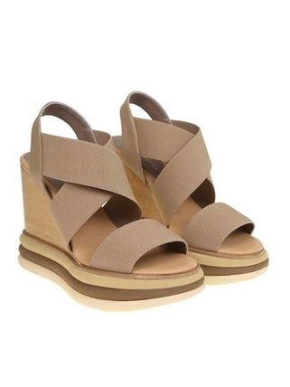 Open Toe Platform Rubber Sole Casual Style Plain Leather