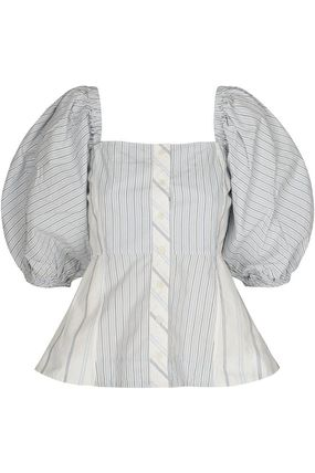 Short Stripes Casual Style Cropped Cotton Street Style