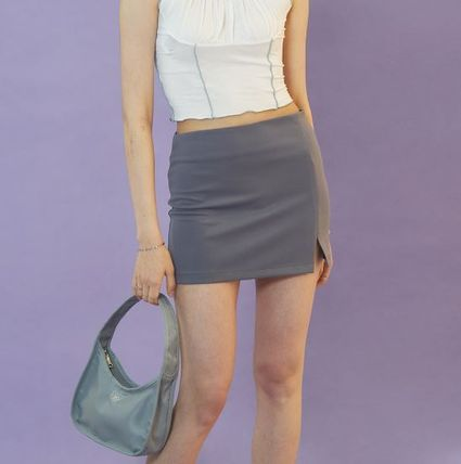 Pencil Skirts Short Street Style Plain Logo Mini Skirts