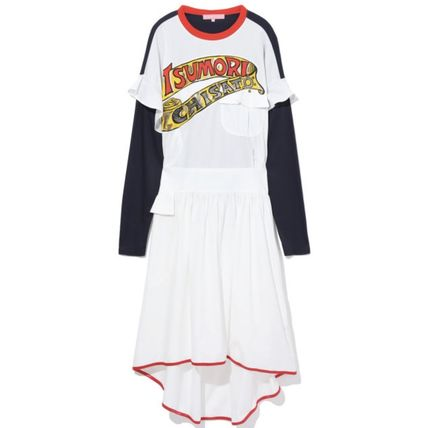 Long Sleeves Cotton Logo Asymmetry Dresses