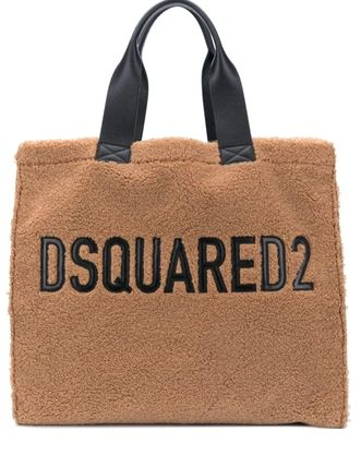 D SQUARED2 Casual Style Unisex Faux Fur Leather Logo Totes