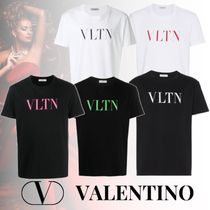 VALENTINO VLTN Crew Neck Pullovers Street Style Cotton Short Sleeves Logo