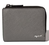 Agnes b Unisex Bi-color Plain Leather Khaki Folding Wallet